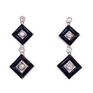 Platinum Diamond Onyx Square Earrings