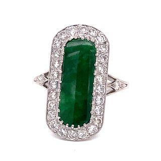 Platinum Diamond Jade Ring