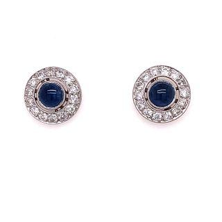 Platinum Sapphire Diamond Target Stud Earrings