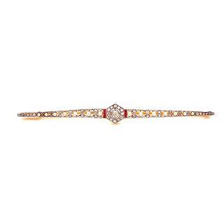 Gold Platinum, Diamond, Ruby & Pearl Bar Brooch