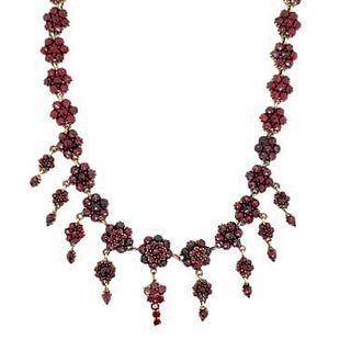 Victorian Vermeil Silver Garnet Necklace