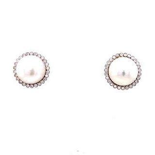 18k Diamond Pearl Earring