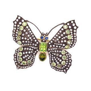 Silver & Gold Diamond Peridot Butterfly Brooch