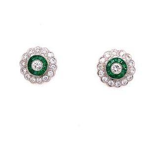 Platinum Emerald Diamond Target Earrings