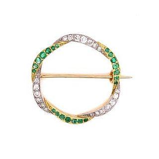 Art Deco 18k Emerald Diamond Brooch