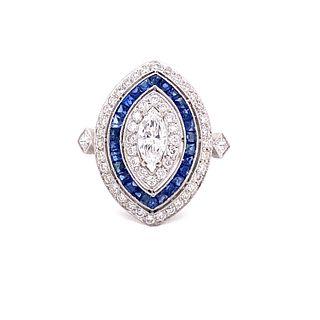 Platinum Sapphire Diamond Marquise Shaped Ring