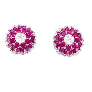 18k Ruby Diamond Rosetta Earrings