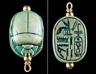 Egyptian Glazed Faience Scarab Pendant for Amenhotep II