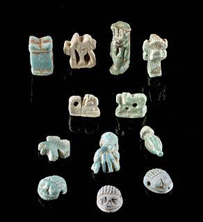 Miniature Egyptian Faience Amulets (12 pcs)