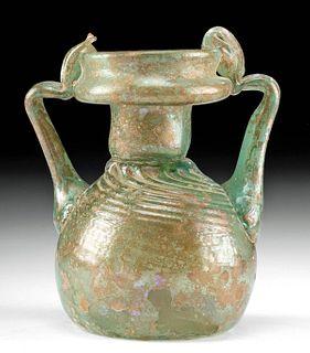 Roman Glass Sprinkler Jar w/ Trail Handles