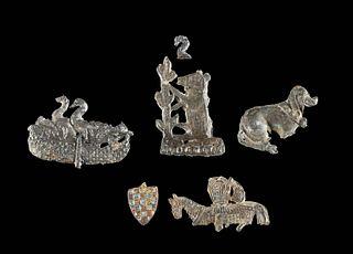 Medieval English Pewter & Gilt Copper Badges