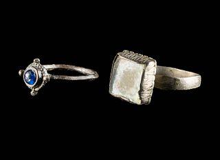 2 Medieval European Rings, Tin Lead & Silver