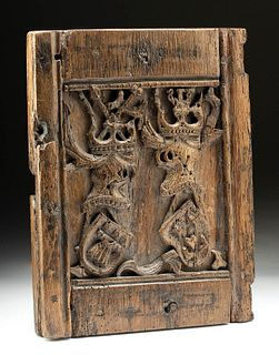 16th C. English Carved Wood Panel w/ Coat of Arms