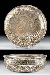 19th C. Islamic Brass Bowl - Tin Brass Inlays & Tughras
