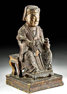 19th C. Chinese Qing Wood Empress Statue