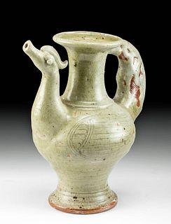 Korean Koryo Celadon Pottery Phoenix Pitcher