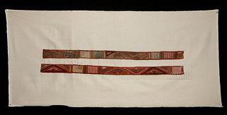 Lot of 2 Moche Polychrome Textile Belt Fragments