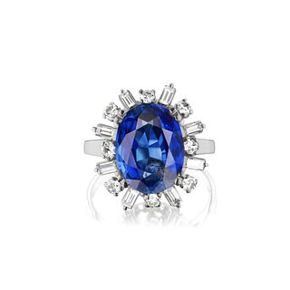 AGL Sapphire, Diamond and Platinum Ring