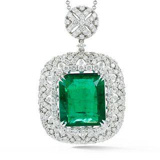 Emerald, Diamond and 18K Pendant Necklace