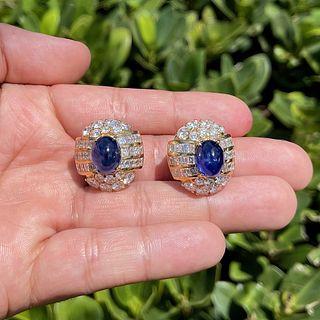 Diamond, Sapphire and 18K Earrings
