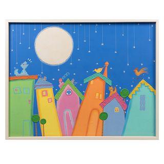 ERIKA ARANA  Casitas. Mixta sobre tela. Con holograma del artista en parte posterior. Enmarcada.  70 x 90 cm.