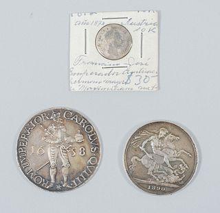 Lote de 3 monedas europeas.  Siglo XIX-XX . Victoria San Jorge (1890) - ROM IMPERATOR CAROLUS-Bizantino, Francisco José Emperado...