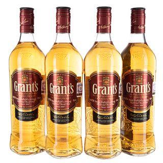 Grant's. The family reserve. Blended. Scotch whisky. Piezas: 4. En presentaciones de 750 ml.
