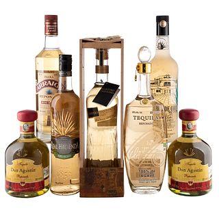 Tequila. a) Hacienda de oro. b) Arraigo. c) Real hacienda. d) Don Agustín. e) Cristeros. Total de piezas: 7.