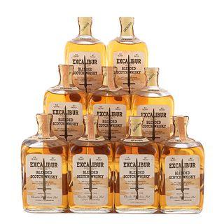 Excalibur. Blended. Scotch whisky. Piezas: 9. En presentaciones de 750 ml.