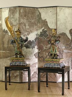 A pair of Chinese cloisonné attendant figures,