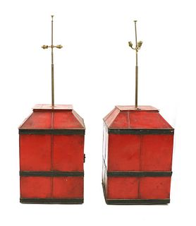 Two painted tin containers,