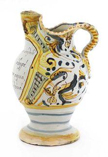 An Italian maiolica wine jug for the Greek market,