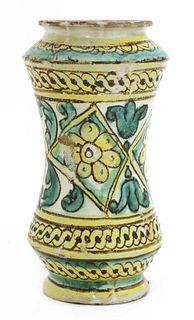 An Italian maiolica albarello,