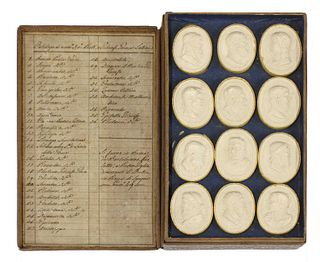 A set of thirty-six grand tour oval plaster cameo busts,