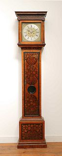 A William and Mary walnut and marquetry inlaid longcase clock,