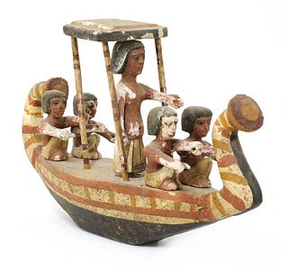 An Ancient Egyptian carved and painted wooden boat,
