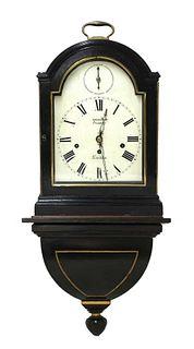 An ebonised musical bracket clock and bracket,