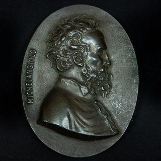 Bronze Profile Portrait Plaque of Michelangelo