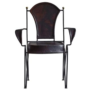 Iron and Leather Arm Chair