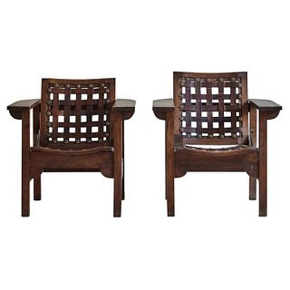 Folding Arm Chairs with Leather Seats