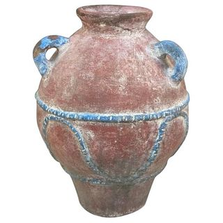 Painted Terracotta Pot with Hues of Red and Blue