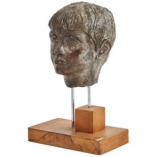 Early 20th Century Carved Plaster Bust on Walnut Stand