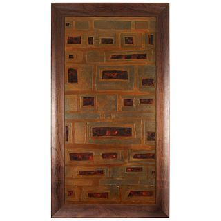 Mid-Century French Brass and Enamel Panel