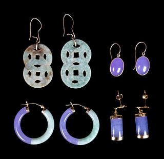 Four Pairs of Chinese Gold Mounted Jadiete Earrings