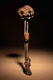 A Chinese Carved Boxwood 'Lotus and Frog' Ruyi Scepter