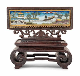 A Chinese Cloisonne Enamel Inset Hardwood Table Screen
