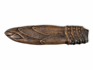 A Chinese Inlaid Bronze Bamboo Shoot-Form Paper Weight