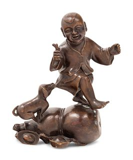 A Chinese Bronze 'Boy and Gourd' Group