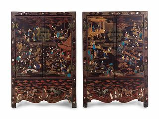 A Large Pair of Chinese Soapstone and Hardstone Inlaid Brown Lacquer Cabinets