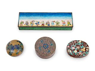 Four Chinese Enamel on Metal Covered Boxes